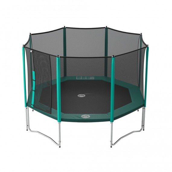 13ft Waouuh 390 trampoline with safety enclosure and ladder