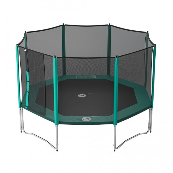 14ft Waouuh 430 trampoline with safety enclosure and ladder