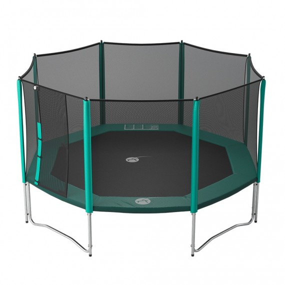 15ft Waouuh 460 trampoline with safety enclosure and ladder