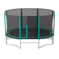 14ft Ovalie 430 trampoline with safety enclosure and ladder