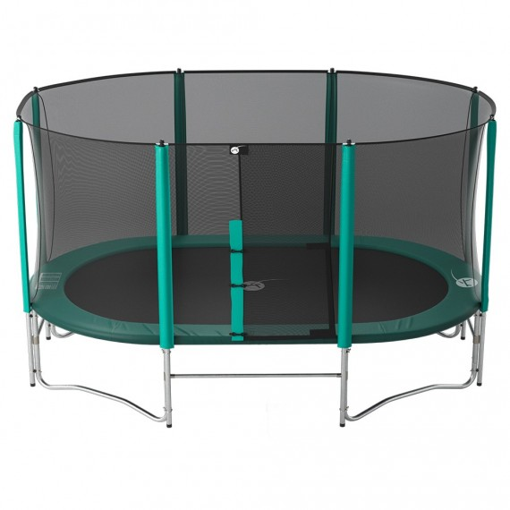 16ft Ovalie 490 trampoline with safety enclosure and ladder