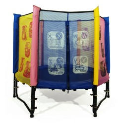Multi-coloured baby trampoline with enclosure