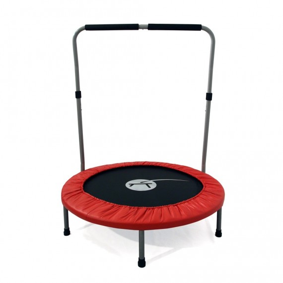 Minimax fitness trampoline with handrail