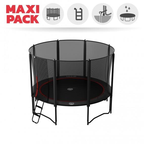 Maxi Pack Trampoline Booster Black 360 avec filet + Échelle + Kit d'ancrage + Housse