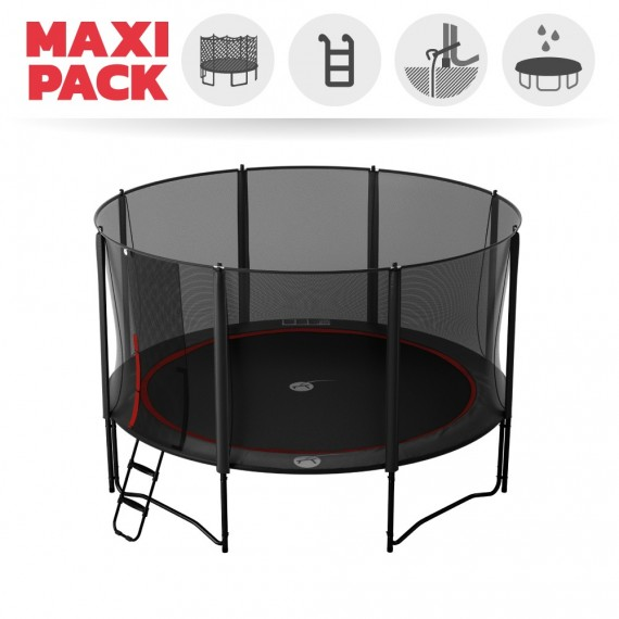 15ft Booster 460 trampoline with safety enclosure + ladder + anchor + cover