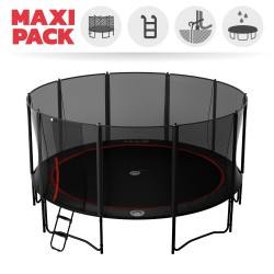 16ft Booster 490 trampoline with safety enclosure and ladder
