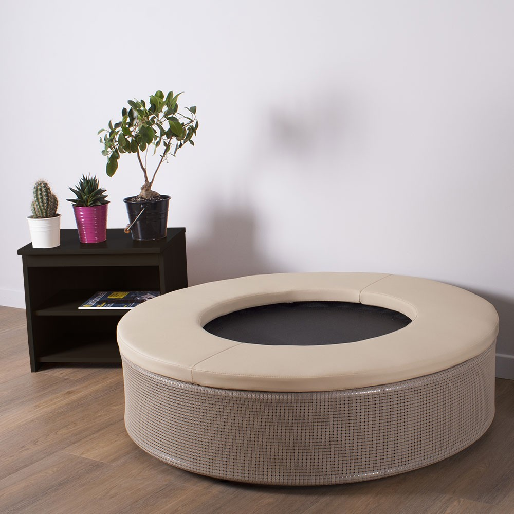 A fitness trampoline designed with chic interior design in mind.