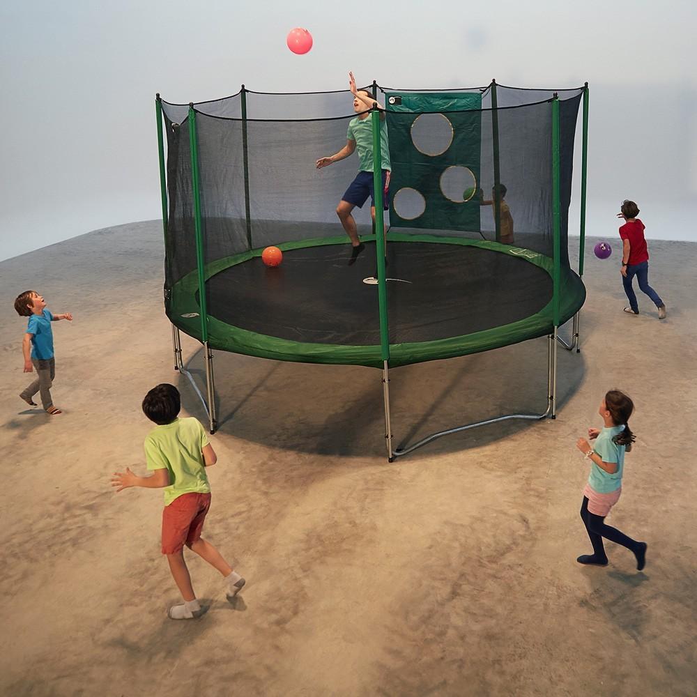 trampoline rond access 360 avec filet de protection. Black Bedroom Furniture Sets. Home Design Ideas