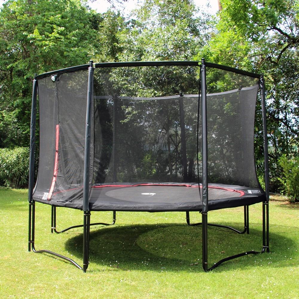 12ft black booster trampoline with safety enclosure. Black Bedroom Furniture Sets. Home Design Ideas