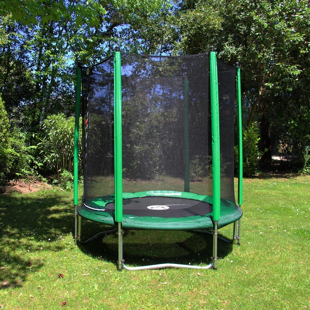 trampoline rond access 180 avec filet de protection. Black Bedroom Furniture Sets. Home Design Ideas