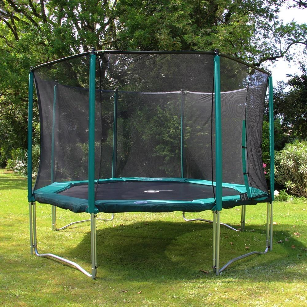 octagonal 12ft waouuh 360 trampoline with safety enclosure ladder. Black Bedroom Furniture Sets. Home Design Ideas