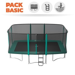 Maxi pack Apollo Sport 500 trampoline with safety enclosure + ladder + anchor kit + cover