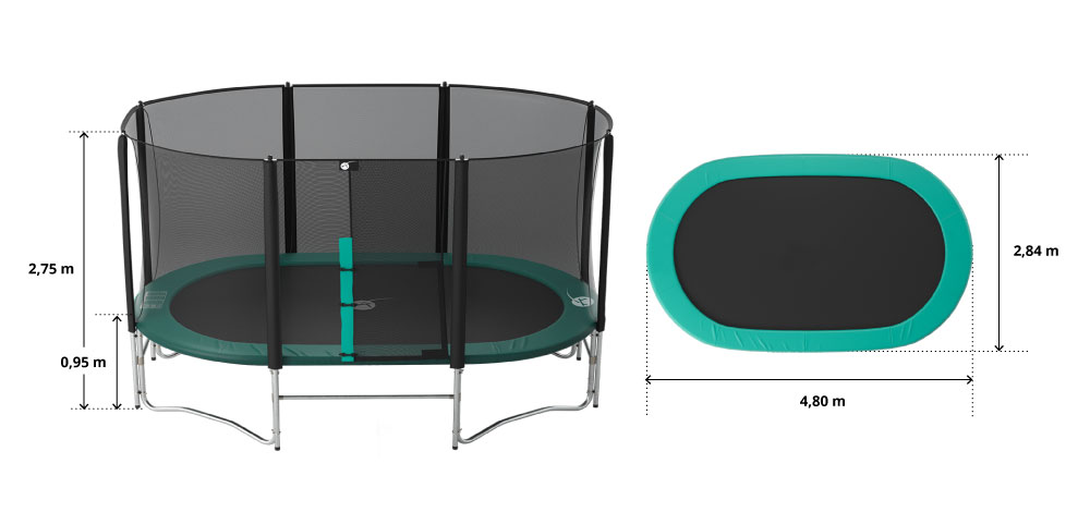 illustration de caractéristiques du produit Maxi pack 16ft Ovalie 490 trampoline with safety enclosure + ladder + anchor kit + cover
