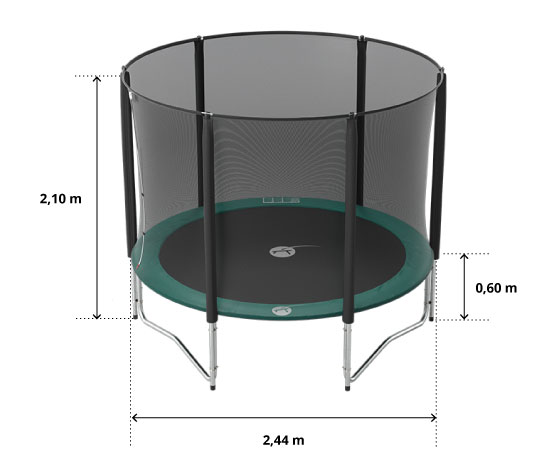 illustration de caractéristiques du produit Basic pack 8ft Jump'Up 250 trampoline with safety enclosure + ladder + anchor kit