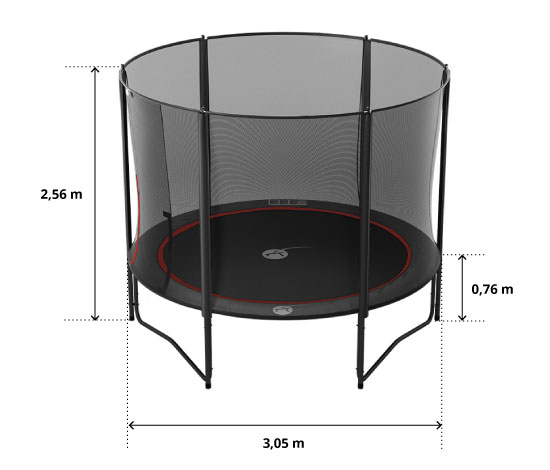 illustration de caractéristiques du produit Maxi Pack 10ft Trampoline Black Booster 300 +safety enclosure + Ladder + Anchor Kit + cover