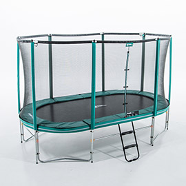 Oval garden trampoline with enclosure