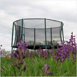 Garden trampoline with enclosure