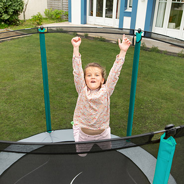Trampoline with enclosure for kids