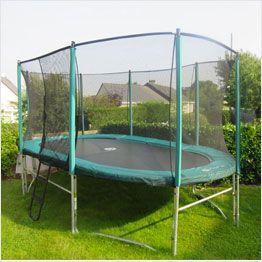 Oval garden trampoline with enclosure