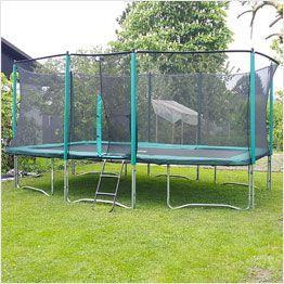 Rectangular garden trampoline with enclosure