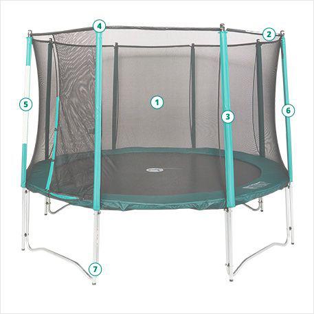Composition d'un trampoline de loisirs avec filet