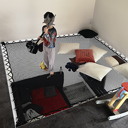 Children's play area on a floor net in a contemporary home