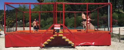 batterie de 4 trampolines Aero Camping Lac des 3 Vallées